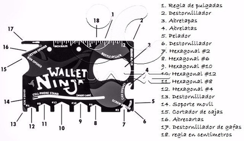 tarjeta wallet ninja multiusos 18 en 1