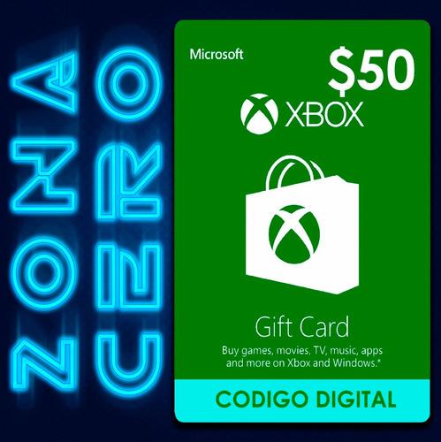 tarjeta xbox gift card $50