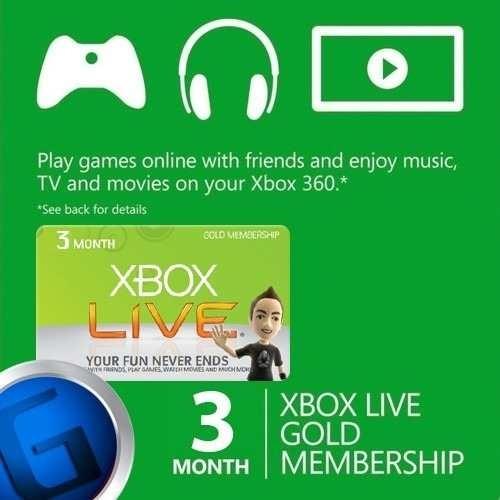 tarjeta xbox live gold 3 meses envio en físico mercadopago