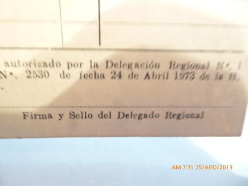 tarjetade recuperacion de recursos tarapaca 1973