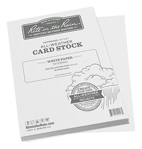 tarjetas blancas tipo cartulina,  rite in the rain, 8.5 x 11