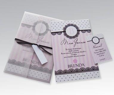 tarjetas  boda 15 años con sobre calado m1