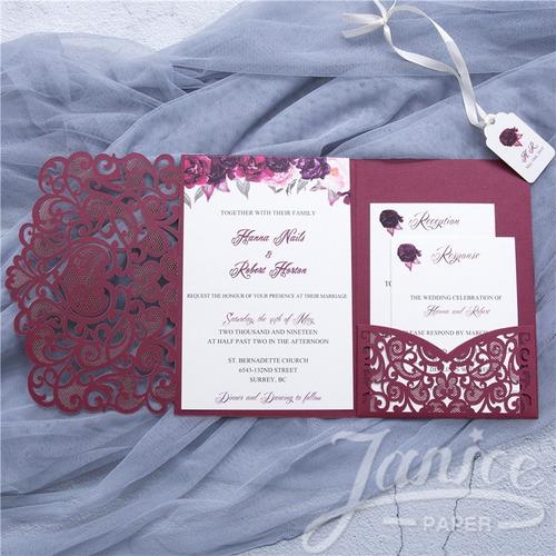 tarjetas  boda 15 años con sobre calado m33