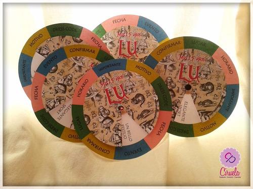 tarjetas circulares giratorias alicia en el país maravillas