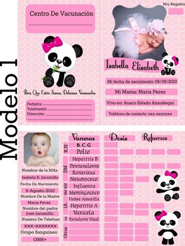 tarjetas control de vacunas personalizadas (digital)