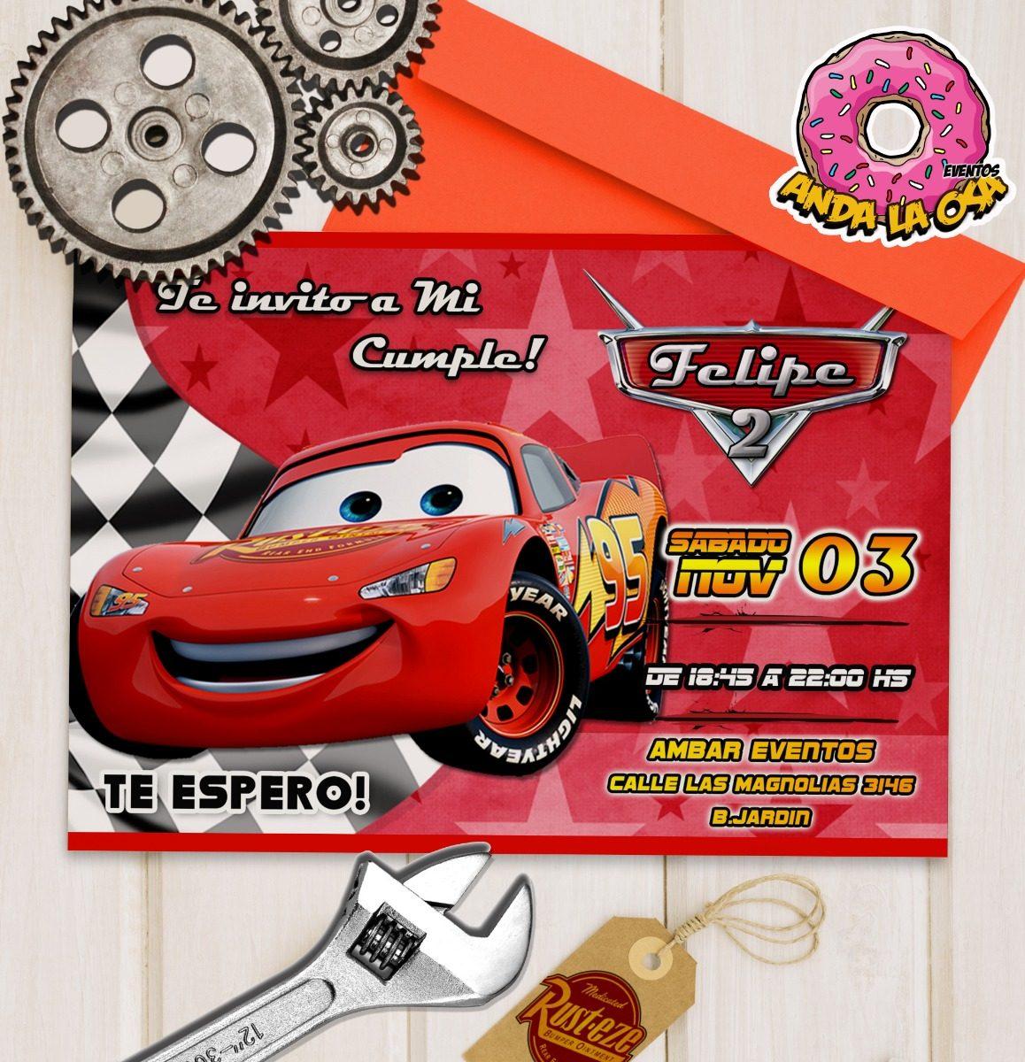 Tarjetas Cumpleaños Cars Rayo Mcqueen X10uni