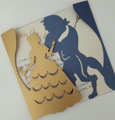 tarjetas de 15 años bella y bestia invitaciones de 15