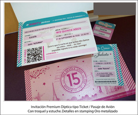 Tarjetas De 15 Años Ticket Aereo Invitaciones Paris Rosa
