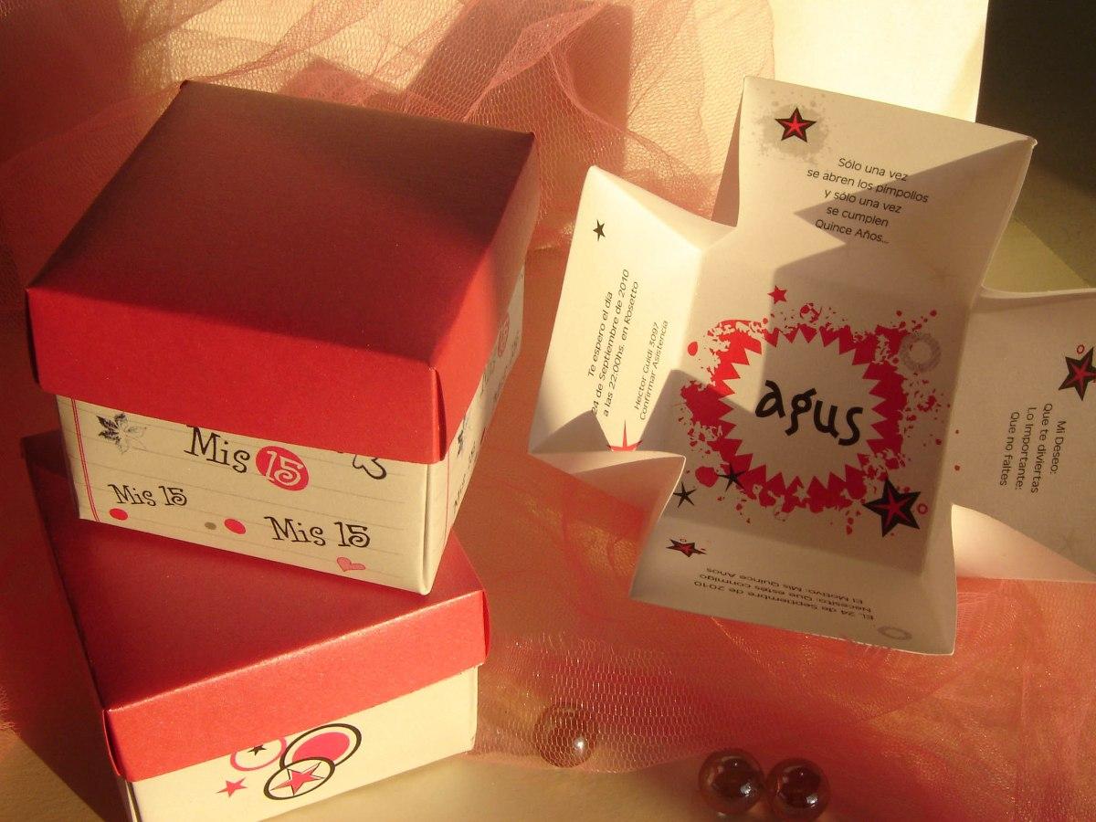 Tarjetas De 15 Originales En Caja Invitaciones Tipo Cajita
