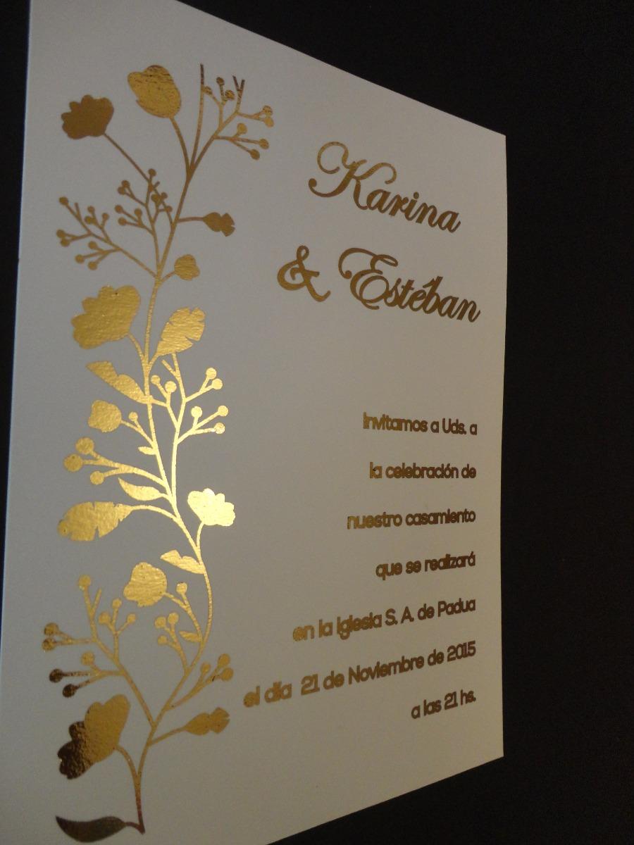 Tarjetas De Casamiento Boda Con Letras En Dorado O Plata