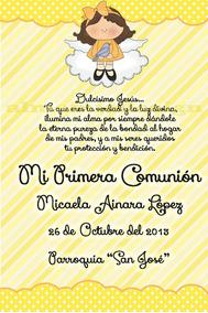 Tarjetas De Comunion Estampitas Invitaciones Precio X 10 Un