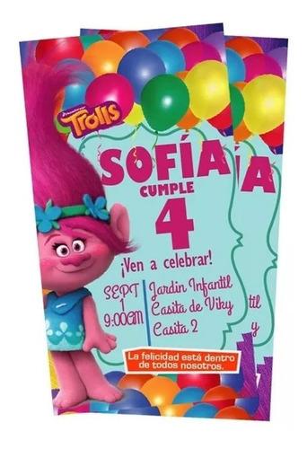 tarjetas de invitacion a cumpleaños trolls + sobres