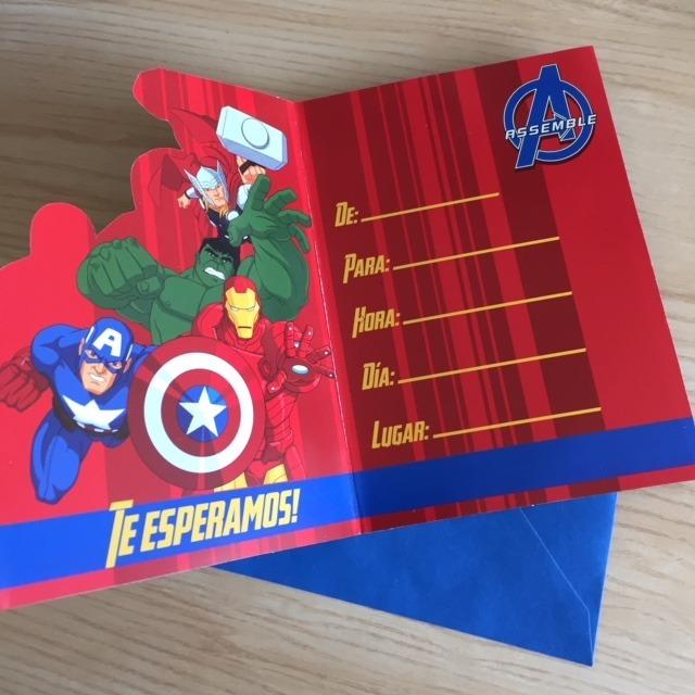 Tarjetas De Invitacion Avengers Cumpleaños Fiestas X 8