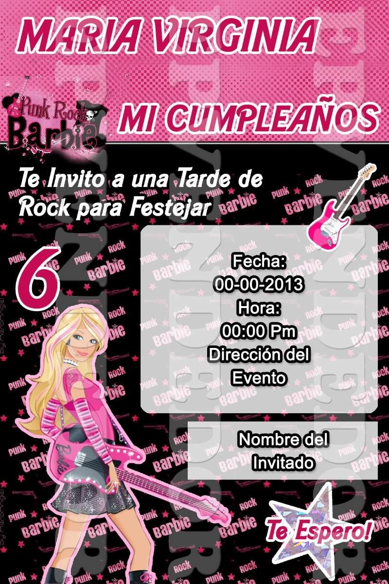 Tarjetas De Invitacion Barbie Estrella De Rock Epven