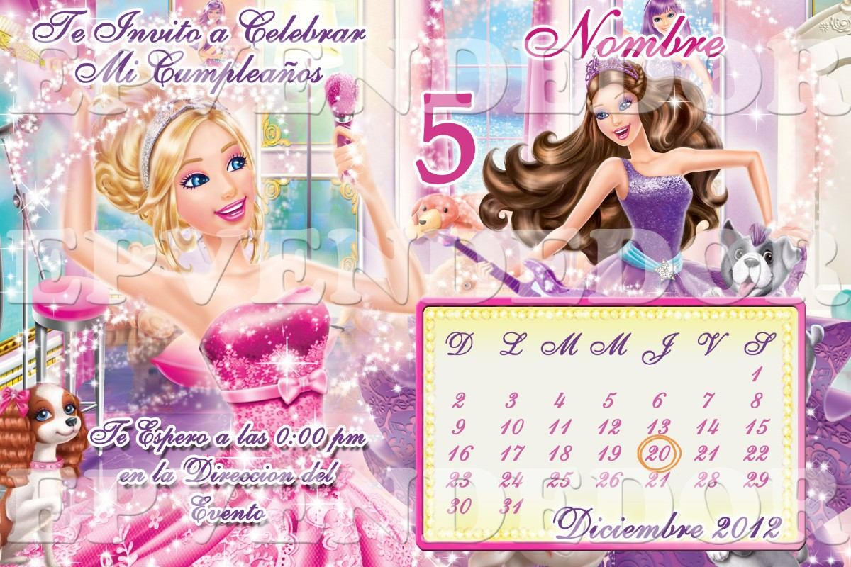 Tarjetas De Invitacion Barbie Princesa Estrella Pop Epvend