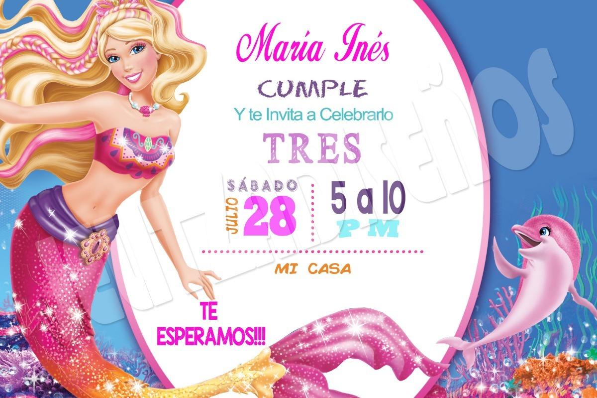Tarjetas De Invitacion Barbie Sirena Epvendedor