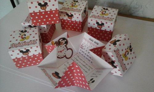 tarjetas de invitación cumpleaños en cartulina forma cajita