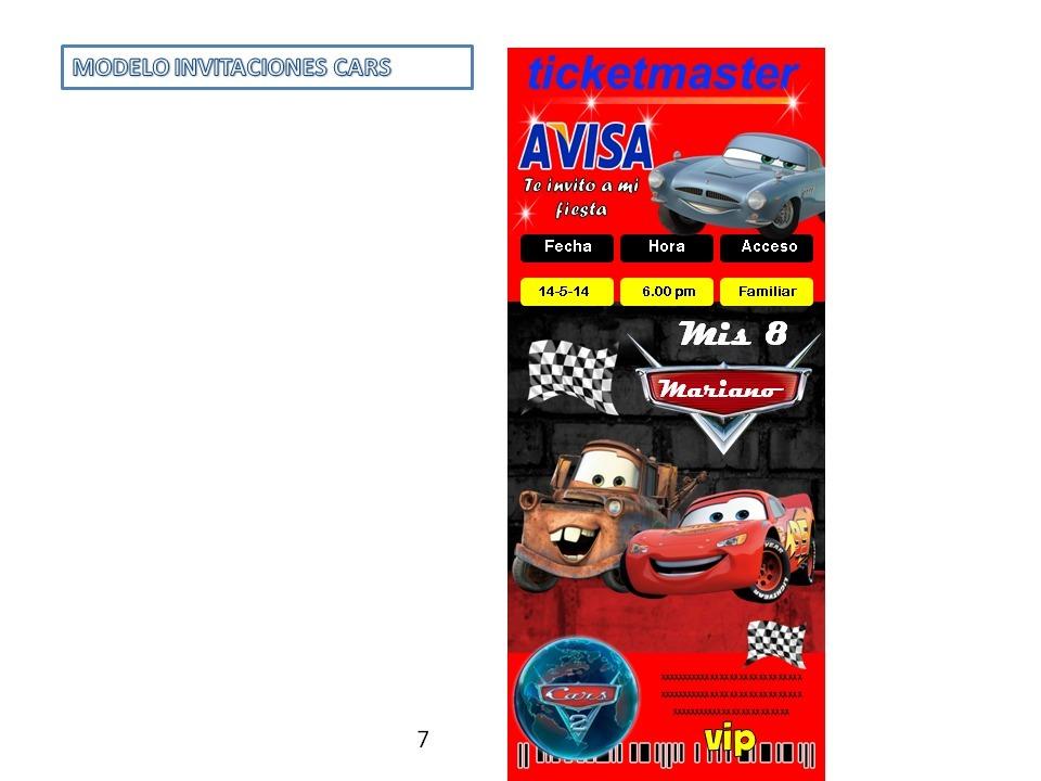 Tarjetas De Invitación Cumpleaños Agrad Cars Personalizadas