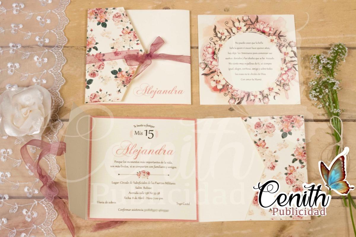 Tarjetas De Invitación De 15 Años Matrimonio Bautizo