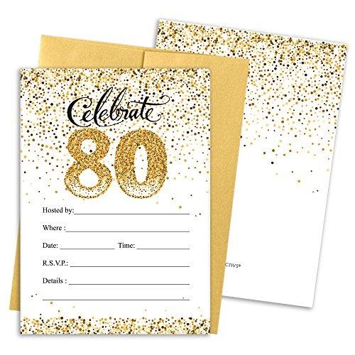 Tarjetas De Invitación De La Fiesta De Cumpleaños 80 Con S