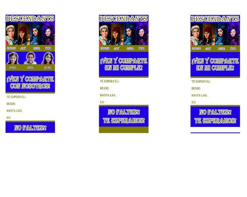 tarjetas de invitación descendientes 85 bsf.  c/u