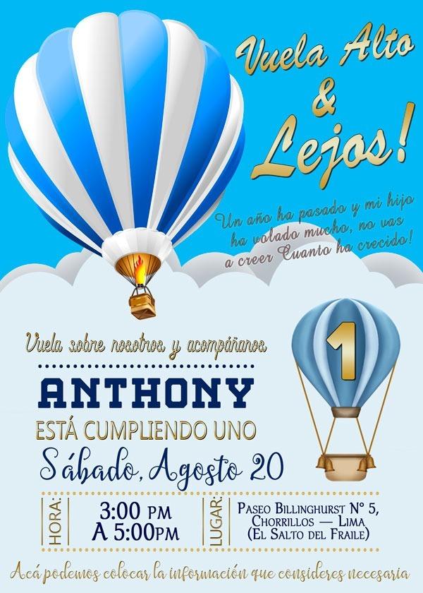Tarjetas De Invitación Digital Cumpleaños Globo Aerostático