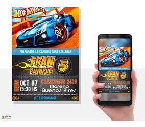 Tarjetas De Invitacion Digital Hotwheels Autos