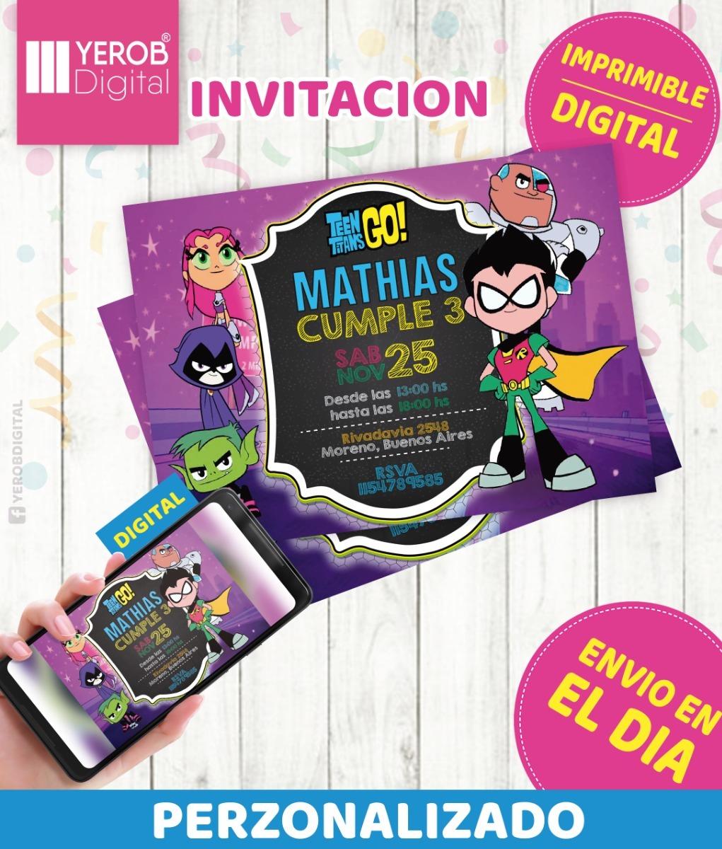 Tarjetas De Invitacion Digital Jovenes Titanes En Accion
