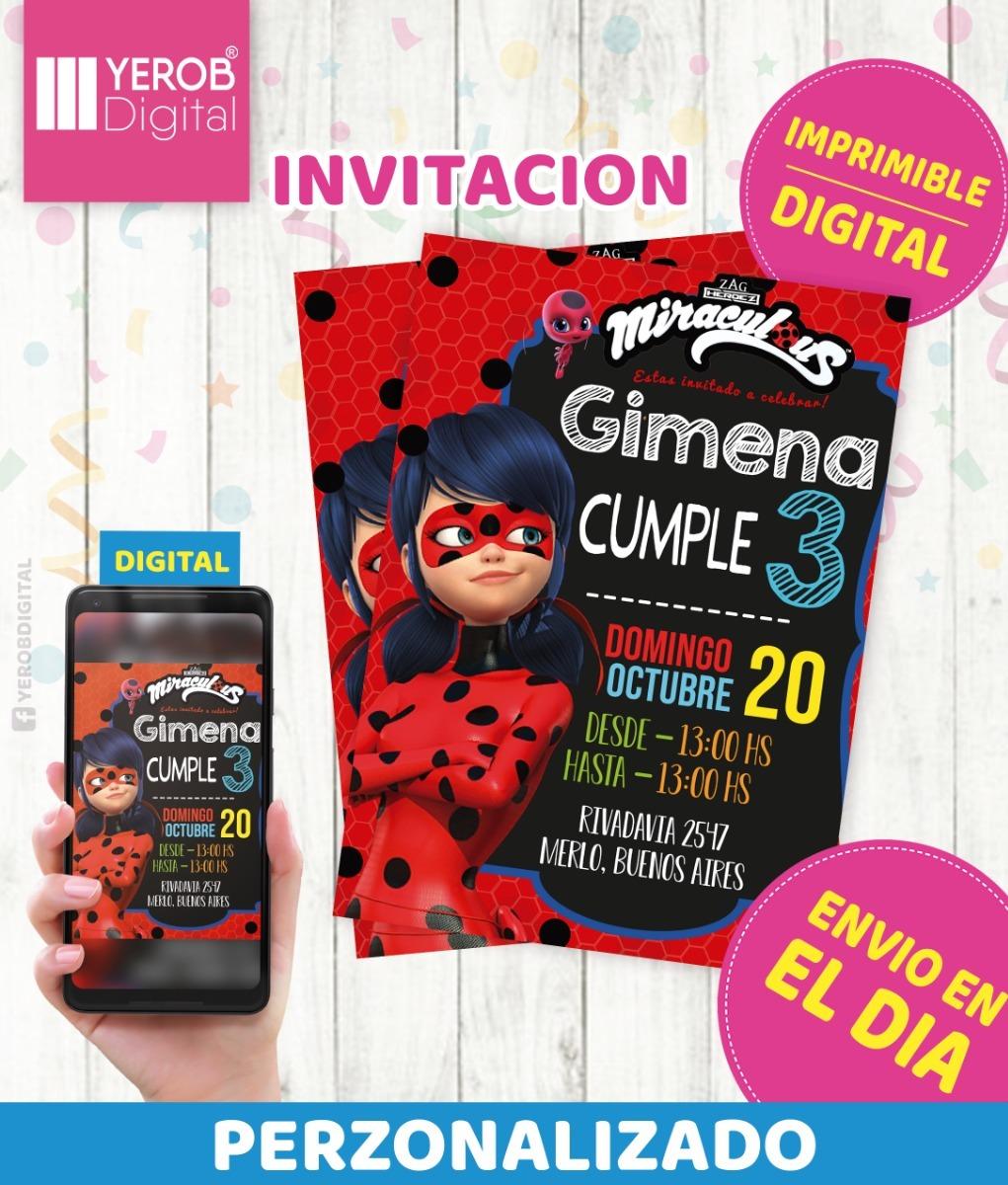 Tarjetas De Invitacion Digital Ladybug Miraculous
