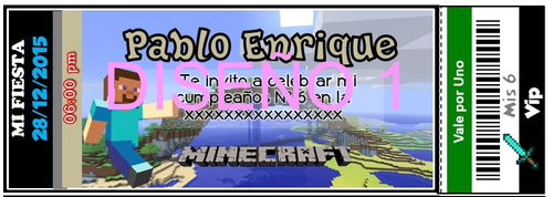 tarjetas de invitacion digital minecraft