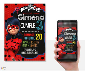 Tarjetas De Invitacion Digital Miraculous Ladybug