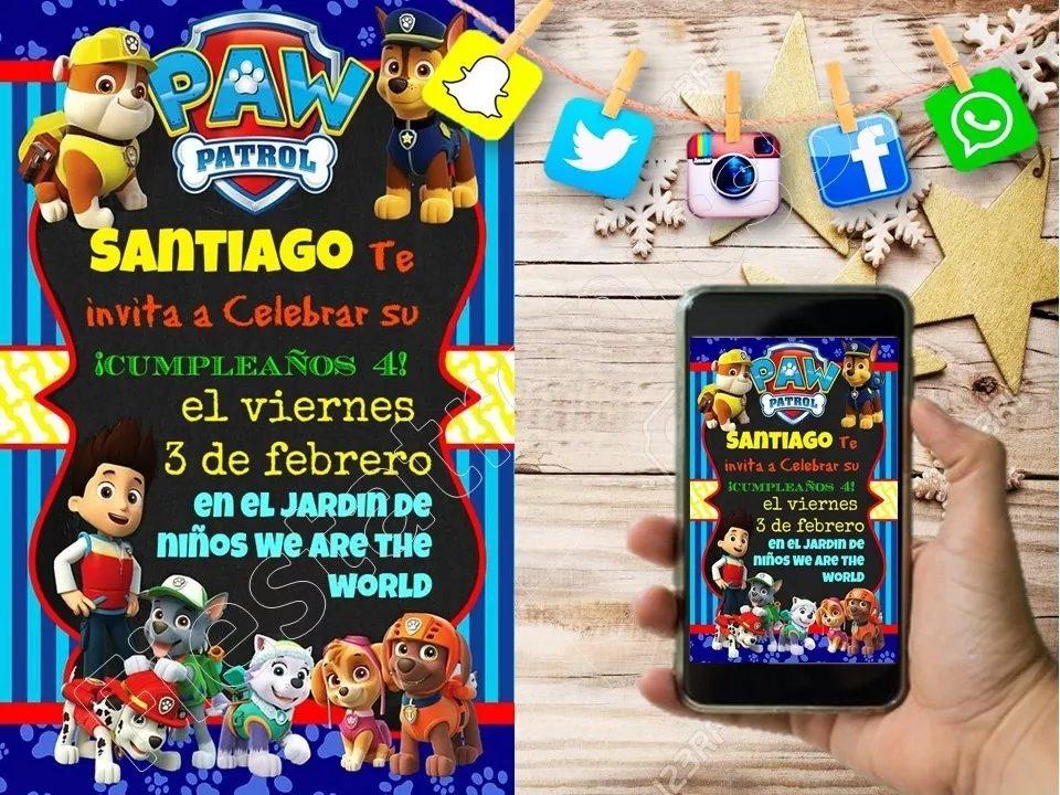 Tarjetas De Invitación Digitales Paw Patrol Patrulla Canina