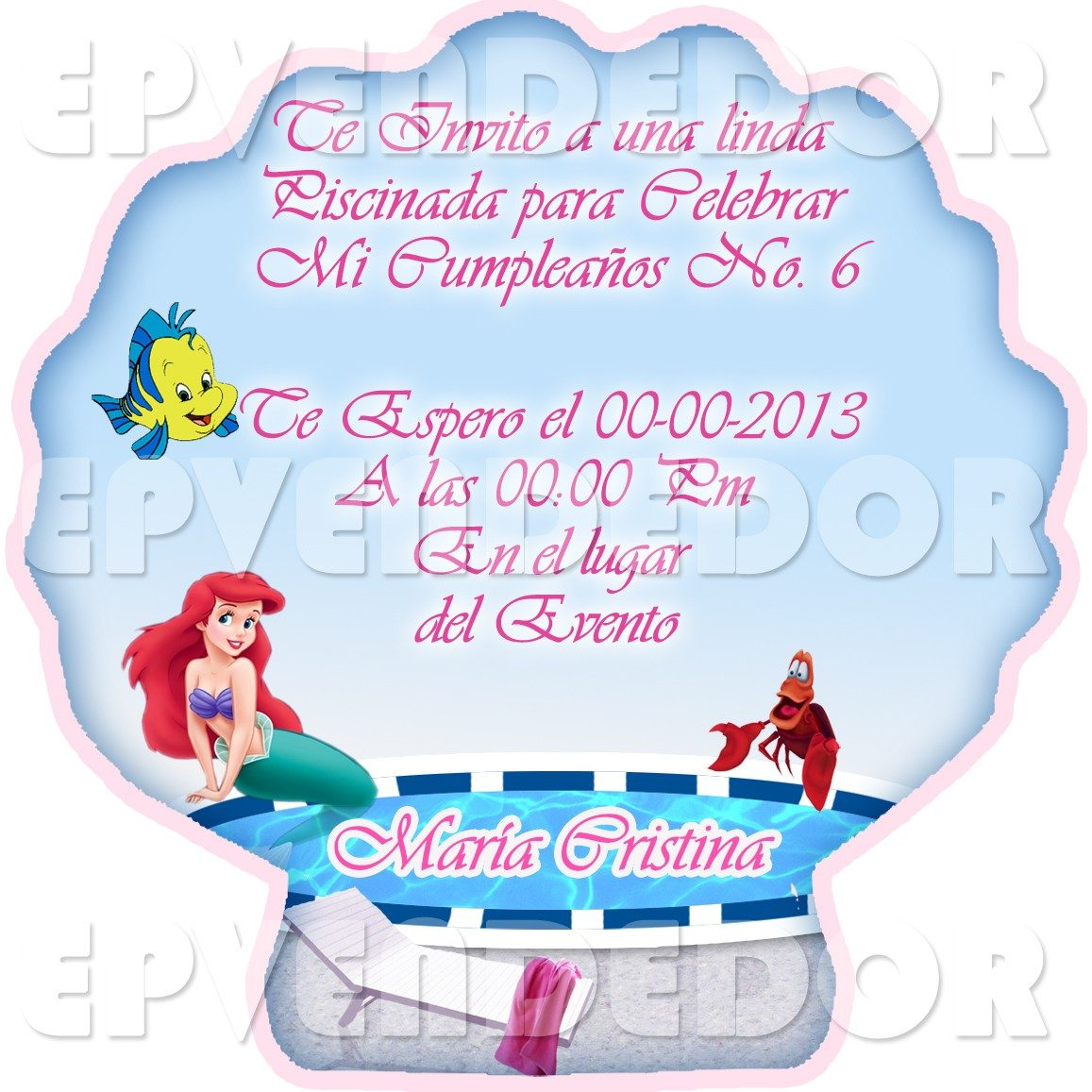 Tarjetas De Invitacion En Forma De Ostra La Sirenita Epv