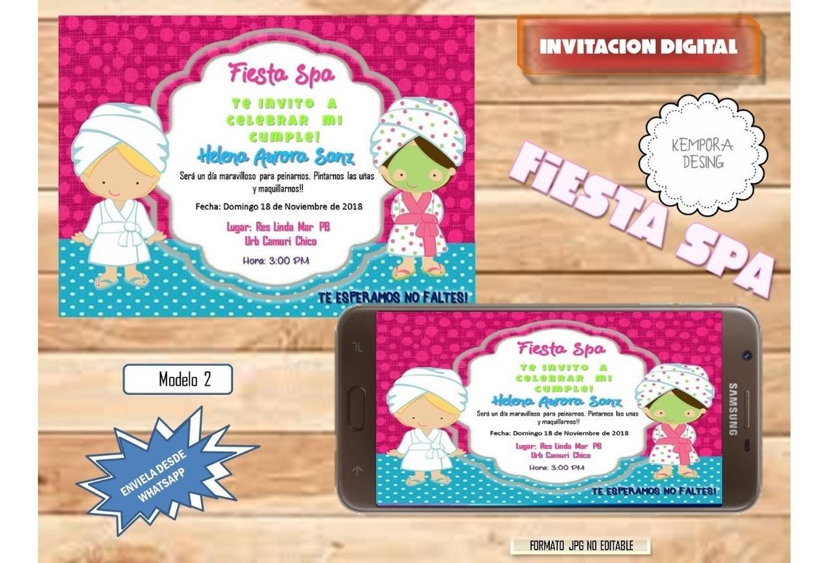Tarjetas De Invitacion Fiesta Spa Digitales
