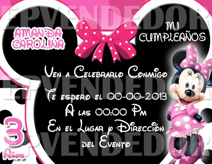 Tarjetas De Invitacion Mickey Y Minnie Mouse Invitaciones