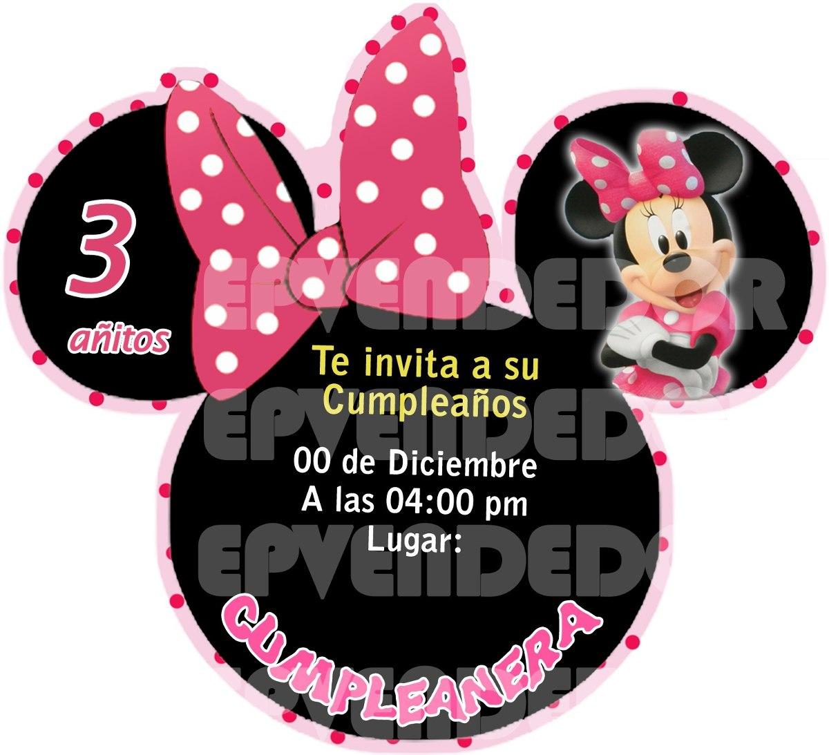 Tarjetas De Invitacion Minnie Mouse Invitaciones Epvendedor