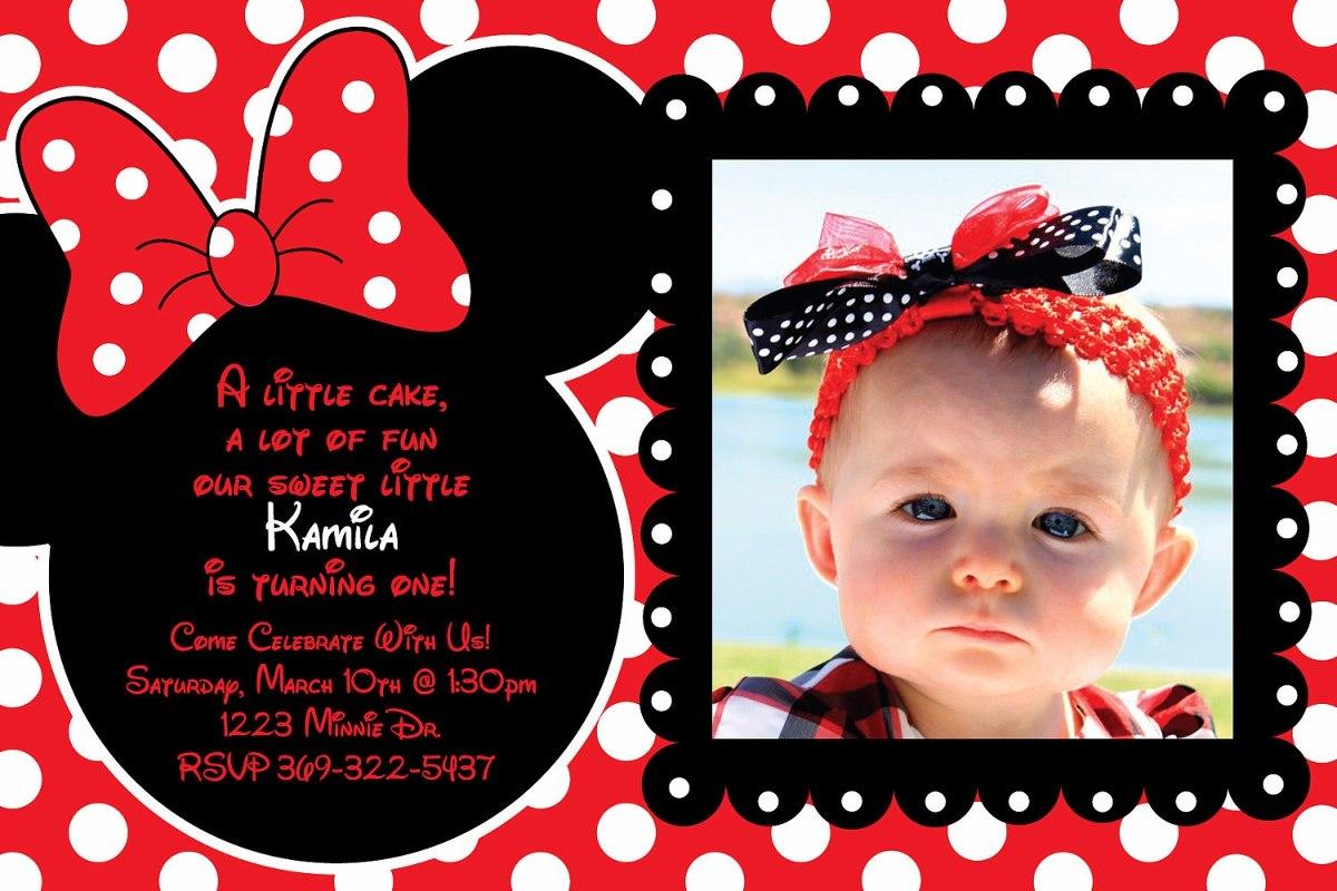Tarjetas De Invitacion Minnie Roja X35