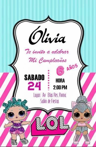 Tarjetas De Invitacion Muñecas Lol Digitales