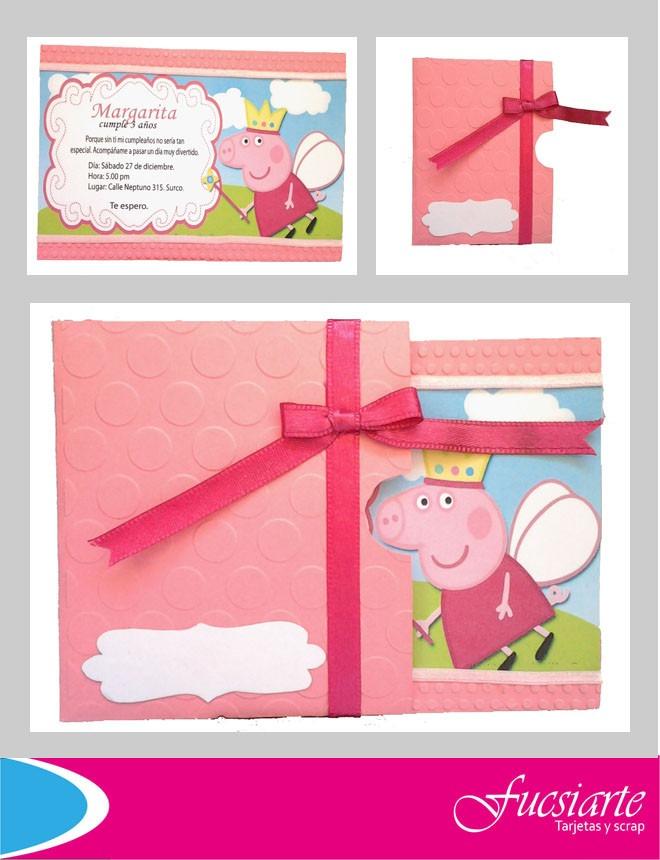 Tarjetas De Invitacion Para Cumpleanos Peppa Pig S 6500 En - Para-hacer-invitaciones-de-cumpleaos