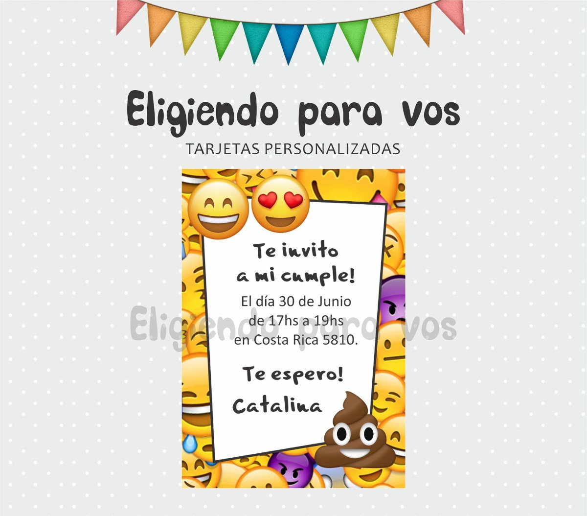 Tarjetas De Invitación Personalizadas Cumple Emojis