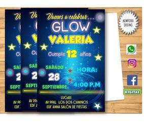 Tarjetas De Invitacion Pizarra Neon Glow