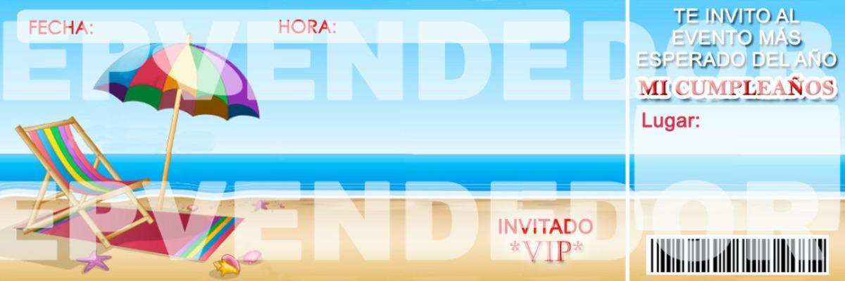 Tarjetas de invitacion playa o piscina invitaciones epveded bs en mercado libre - Cumpleanos en piscina ...