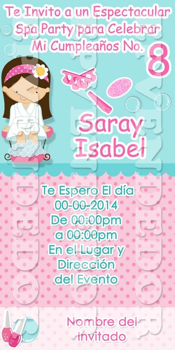 Tarjetas De Invitacion Spa Party Invitaciones 10x5