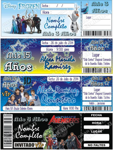 tarjetas de invitacion tipo ticket