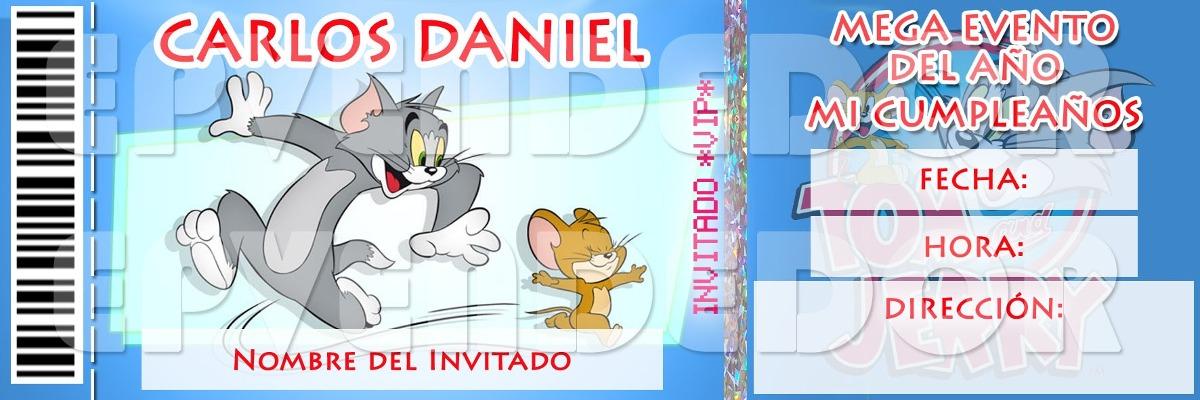 Tarjetas De Invitacion Tom Y Jerry Tipo Entrada Epvendedor