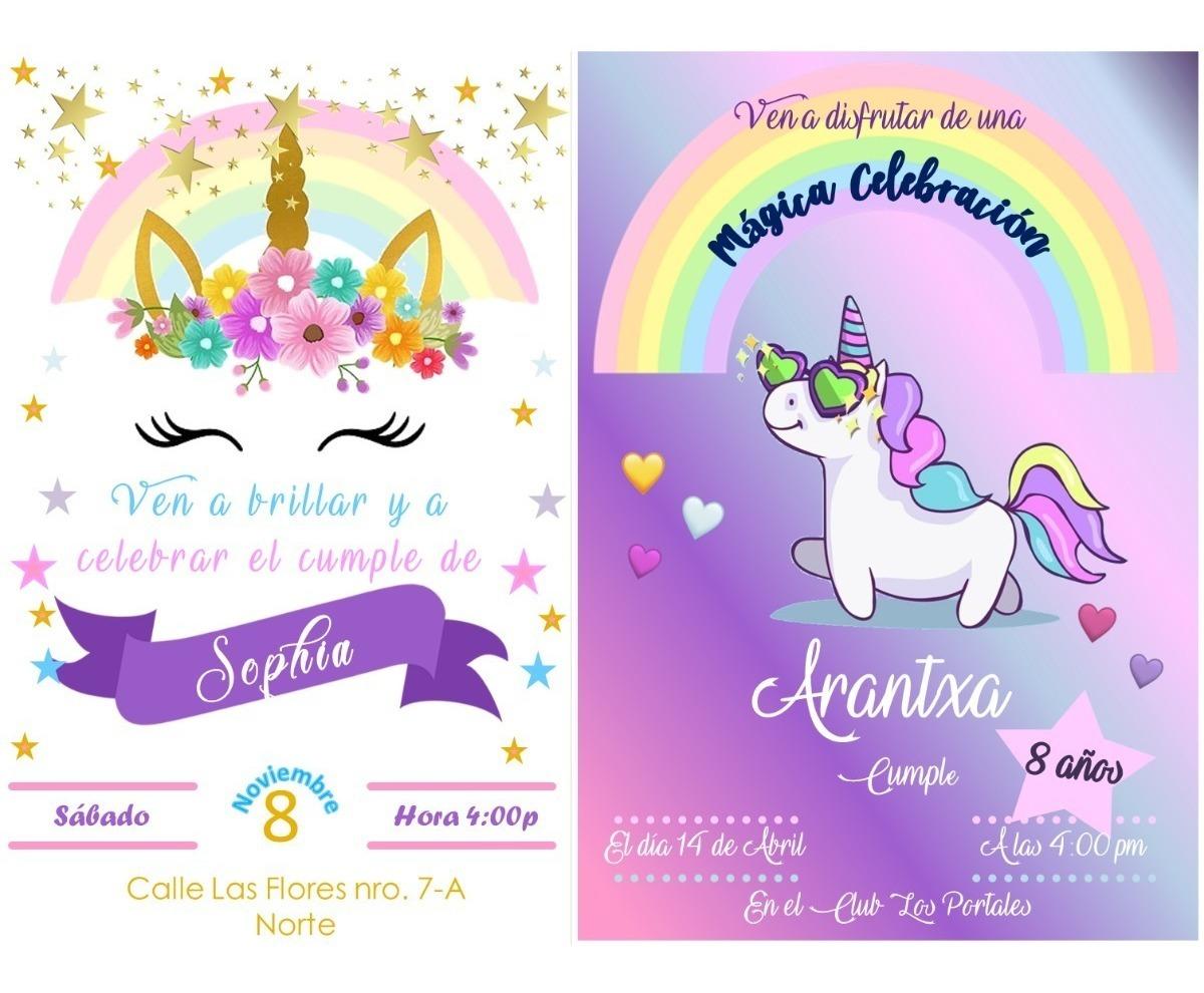 Tarjetas De Invitación Unicornio