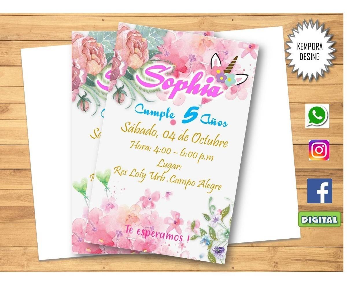 Tarjetas De Invitacion Unicornio Digital
