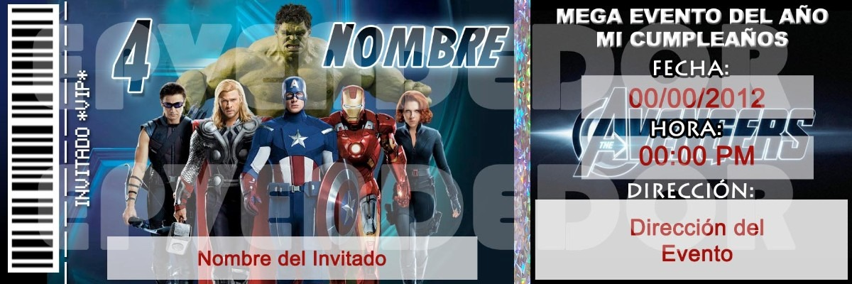 Tarjetas De Invitacion Vengadores Invitaciones Epvendedor