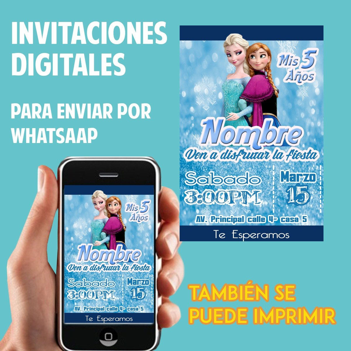 Tarjetas De Invitación Whatsaap Cumpleaños Frozen