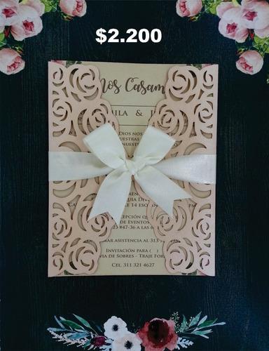 tarjetas de matrimonio  15 años  invitaciones corte laser